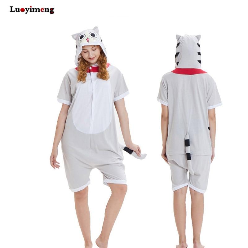 9dc32e4aa6 New Adult Unisex Cartoon Cotton Pajamas Onesies Hooded Summer Sleepwear  Party Wear Unicorn Cat Cow Stitch Pyjamas For Women Men