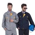 Компания Логотип Печать Вышивка темно-серый промышленный комплект спецодежды куртка и брюки Рабочий комплект одежды с несколькими кармана...