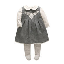 Фотография 2017 Vlinder new baby sets 3pcs baby girl clothes Cute doll shirt+Pantyhose+baby dress cotton full sleeves dress baby rompers