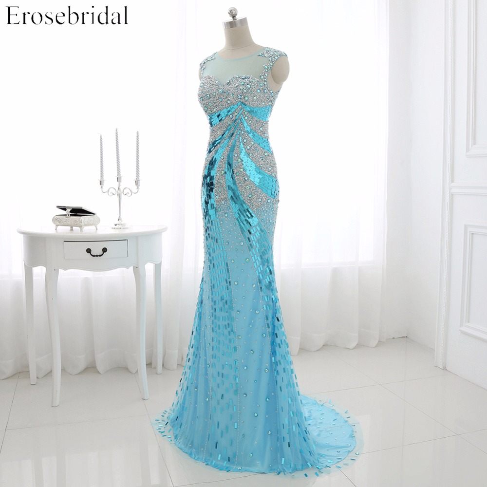 2016 Real Photo Perla Tulle Mermaid Prom Dress Scoop Neck Sequined - Haljina za posebne prigode - Foto 2