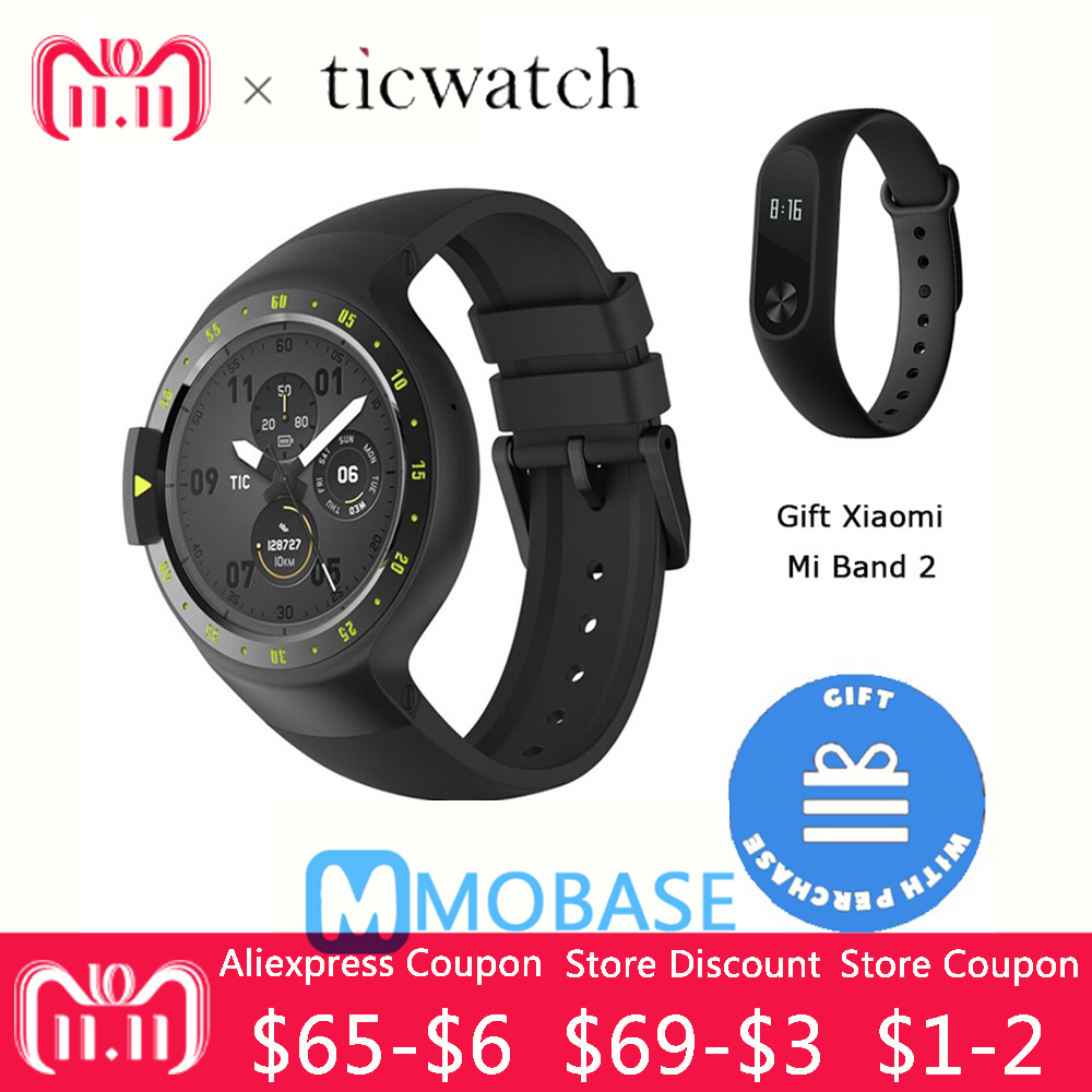 Ticwatch S GPS Sport Smartwatch Original Android Wear 2.0 Heart Rate Bluetooth WIFI MTK2601 Music Smart watch for Xiaomi original ticwatch s knight smart watch android wear 2 0 bluetooth 4 1 wifi heart built in gps sport watch rate ip67 waterproof