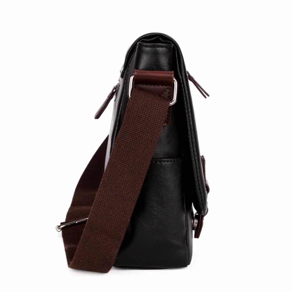 3c19355937 ... VICUNA POLO Promotional Men Messenger Bag Vintage Large Horizontal  Black Satchel Bag With Double Belt Fashion ...