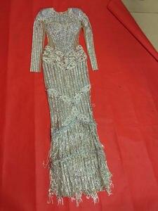 Image 5 - Luksusowe błyszczące srebrne kryształki sukienka miga Sexy etap nosić długie sukienki pełne kryształy kostium strój do świętowania sukienki