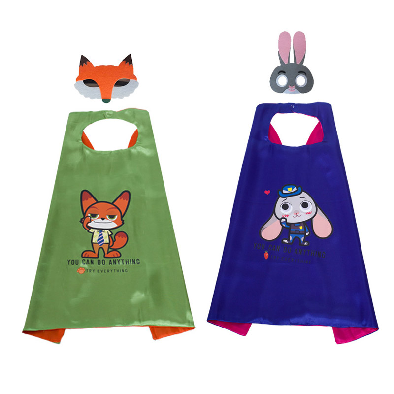 70cm Zootopia Zootropolis Nick Wilde Judy Hopps cape themed Halloween party cosplay presents boys mantle cloak girl costume mask