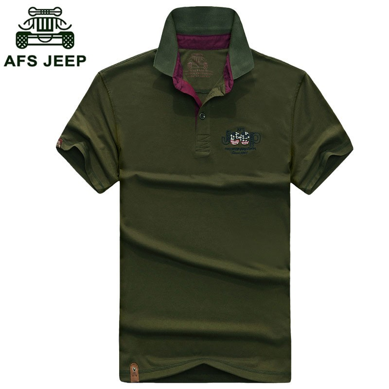 2016 New Summer Polo Casual Fashion Shirt Short Sleeve Tees Men Cotton Tops AFS JEEP Brand Solid Color Shirt Fashion Plus Size (3)