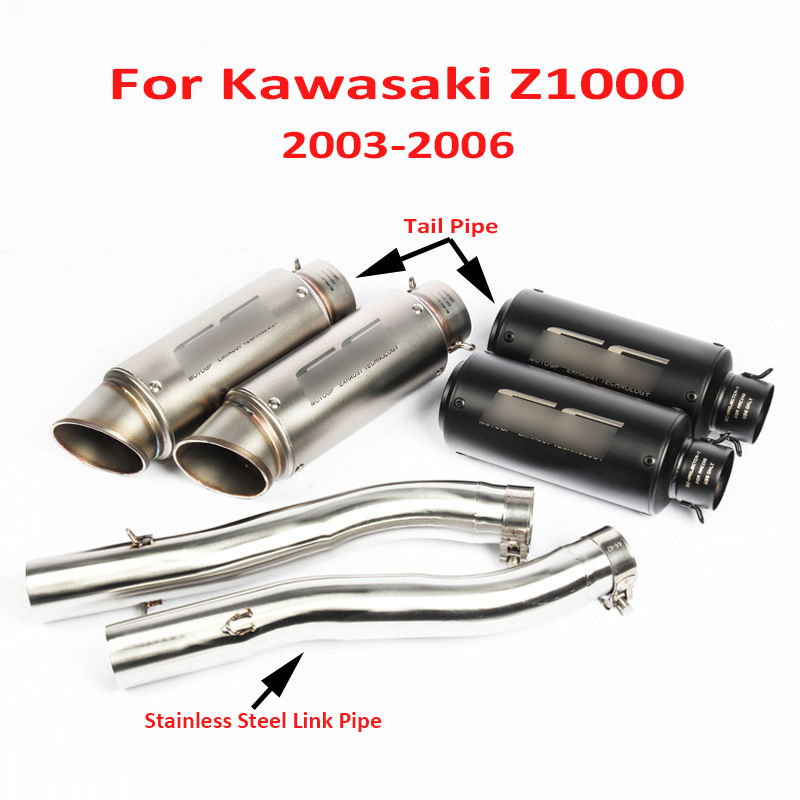 Z1000 Motorcycle Whole Set Exhaust System Muffler Silencer Tip Connect Middle Link Tube Pipe for Kawasaki