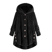 f224841e3a6 2019 Winter Coat Women Hooded Coat Fashion Female Solid Button Coat Fluffy  Tail Tops Hooded Pullover