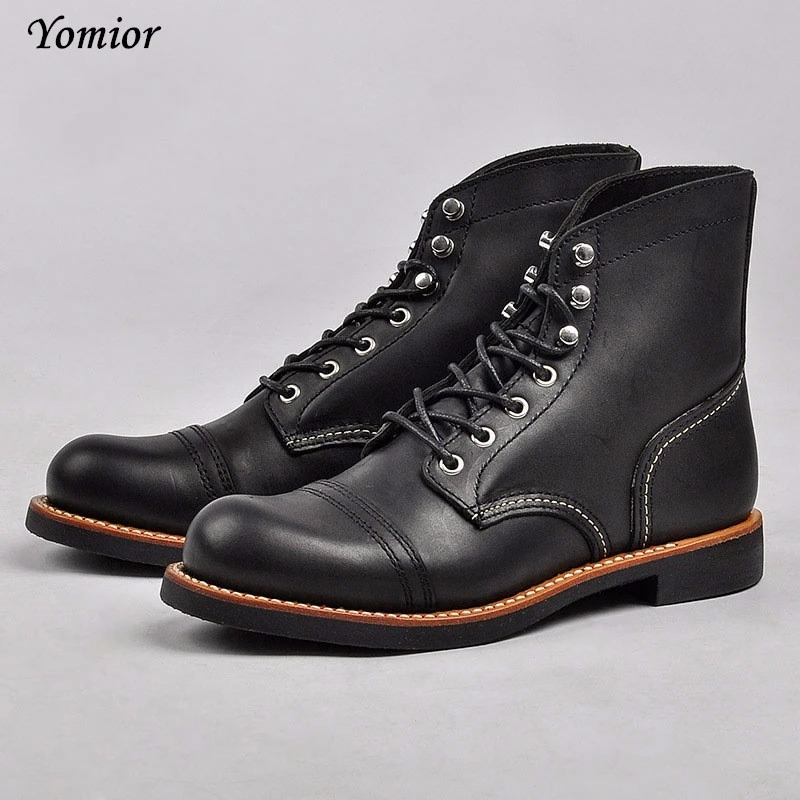 d8d42bf3fb7 New Fashion Men Boots Motorcycle Handmade Wing Genuine Leather Business  Wedding Boots Casual British Style Wine