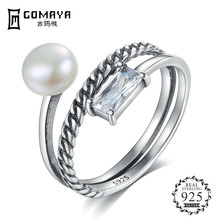 GOMAYA High Quality 925 Sterling Silver Pearl zircon Rings For Women Fashion Wedding Jewelry Best Gift