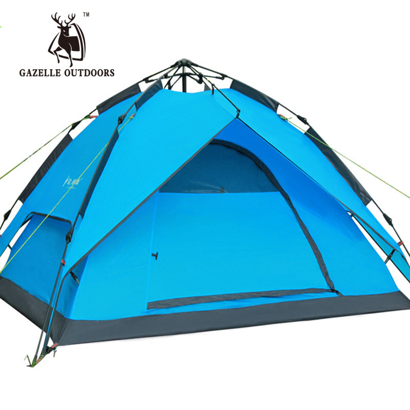 GAZELLE OUTDOORS 3-4 person Hydraulic Automatic Windproof Waterproof Double Layer Outdoor Camping TentGAZELLE OUTDOORS 3-4 person Hydraulic Automatic Windproof Waterproof Double Layer Outdoor Camping Tent
