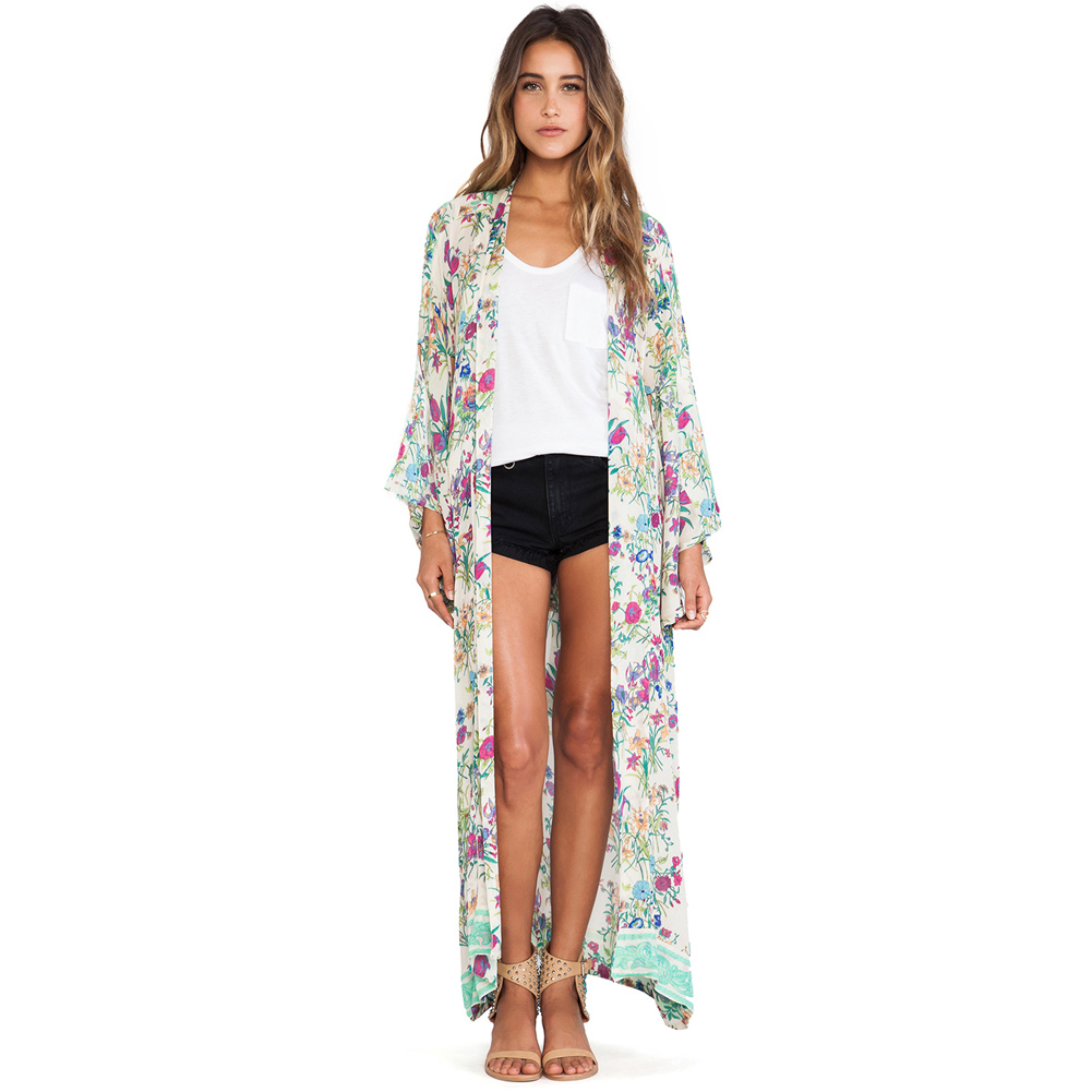 2017 women chiffon loose cardigan open front floral print robe de plage long sleeve thin vintage. Black Bedroom Furniture Sets. Home Design Ideas