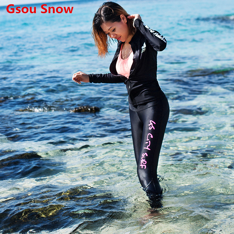 Gsou Snow swimwear women 2017 women's 2 piece swimsuit wetsuit for swimming scuba korean diving suit long sleeve rash guard high quality zipper long sleeve women swimsuit round collar sexy one pieces swimwear girl wetsuit diving swimming suit