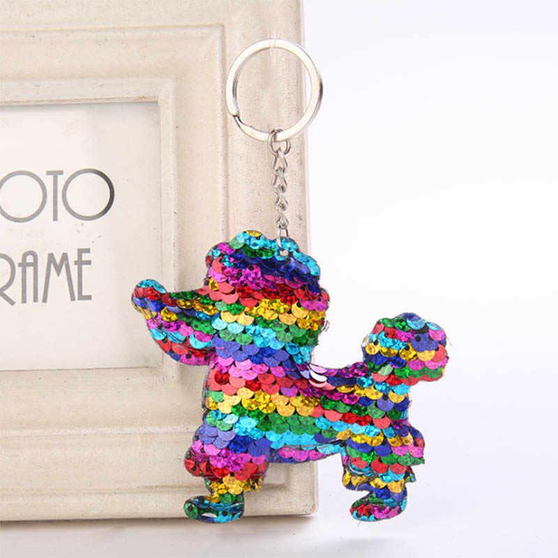 Bonito Pompom Glitter Lantejoulas Presentes Da Corrente Chave Chaveiro Chaveiro de Porco Para As Mulheres Homem Llaveros Mujer Saco Chave Acessórios Do Carro Anel