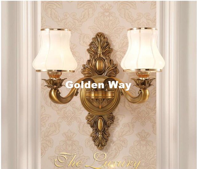 Free Shipping European Br Wall Lamp Bronze Color Sconce For Hotel With Crystal Shade Modern