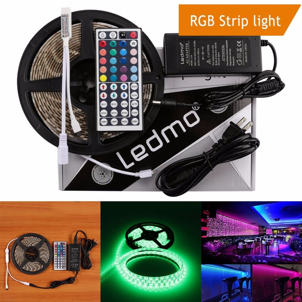 LED Strip 5M/lot 300LEDS RGB Led Band Non-waterproof DC12v Flexible Light and 5A EU Power Supply For TV PC LCD Background Decor