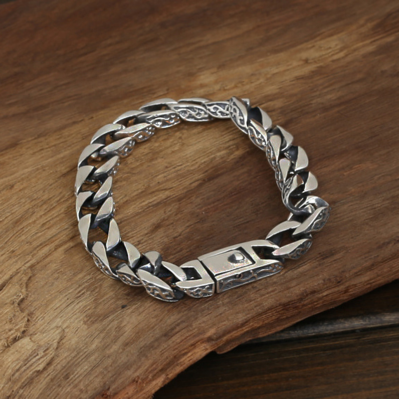 цена на Wholesale S925 Sterling Silver Jewelry Men Fashion Handmade Retro Thai Silver Original Ring Buckle Bracelet