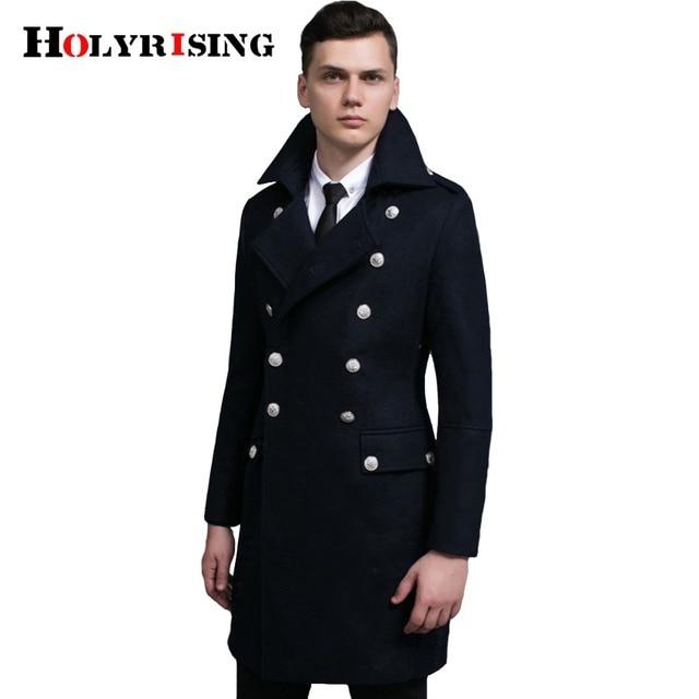 Spring Autumn Retro Men Wool Coats Double Button Jackets Long Turn Collar  Male Slim Clothing Black Army Green Dark Blue S-6XL 1ee6419de0bc