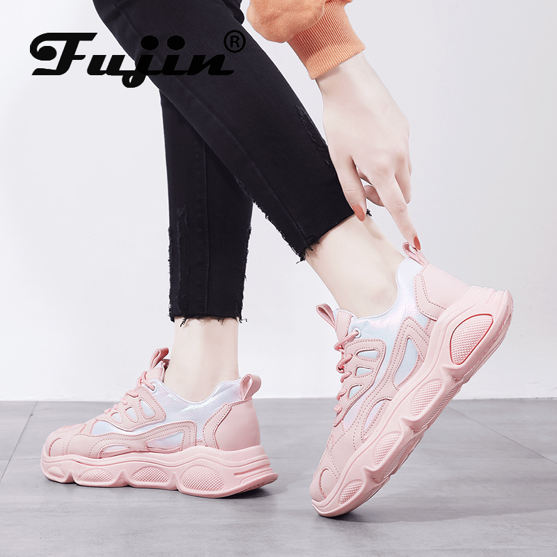 Fujin Women Sneakers Dropshipping Breathable Mesh Trainers Chunky Sneakers Thick Sole Ladies Platform Shoes Increasing Shoes