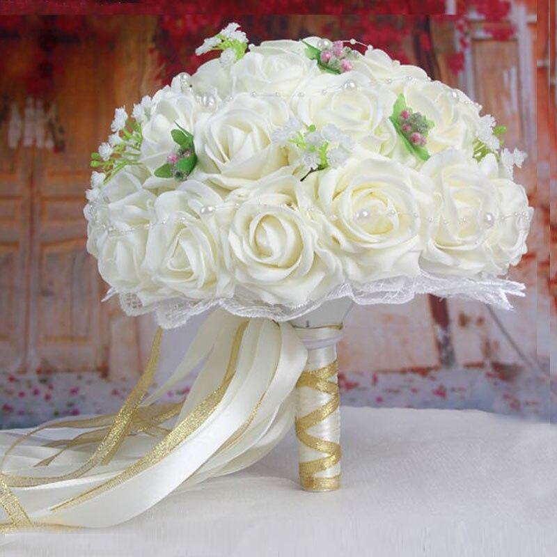 2019 Vackra Handgjorda Blommor Dekorativa Konstgjorda Rose Blommor - Bröllopstillbehör - Foto 2