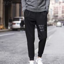 GUYI Black Solid One Side Stripe Sport Pants Men Full Length Drawstring Rib Ankle Pencil Pants Fashion Casual Streetwear Pants