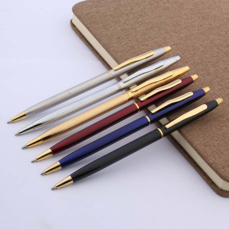 3pcs Golden Tmetal Wist Wave Pattern Of Wire Drawing GIFT Process Ballpoint Pen