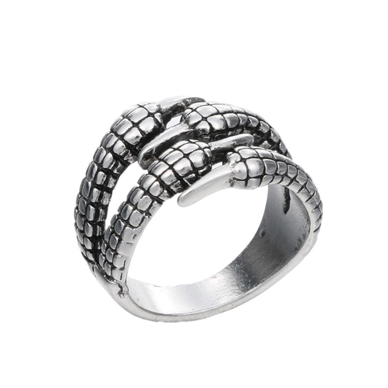 Stainless Steel Mens Biker Rings Vintage Gothic Jewelry Antique Silver Dragon Claw Ring Men Jewelry Punk Rock