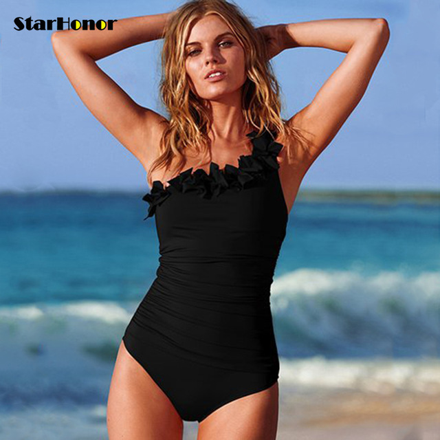 Sexy Women Solid Swimwear One Shoulder Halter One Piece Swimsuit Retro Biquini Bathing Suit Beach Suits Monokini Plus Size S-3XL 2017 new one piece swimsuit women vintage bathing suits halter top plus size swimwear sexy monokini summer beach wear swimming