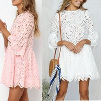 Lace Embroidery Cotton Mini Dress Women Ruffle Sleeves Casual White Dress Hollow Out Spring Short Vestidos Dress