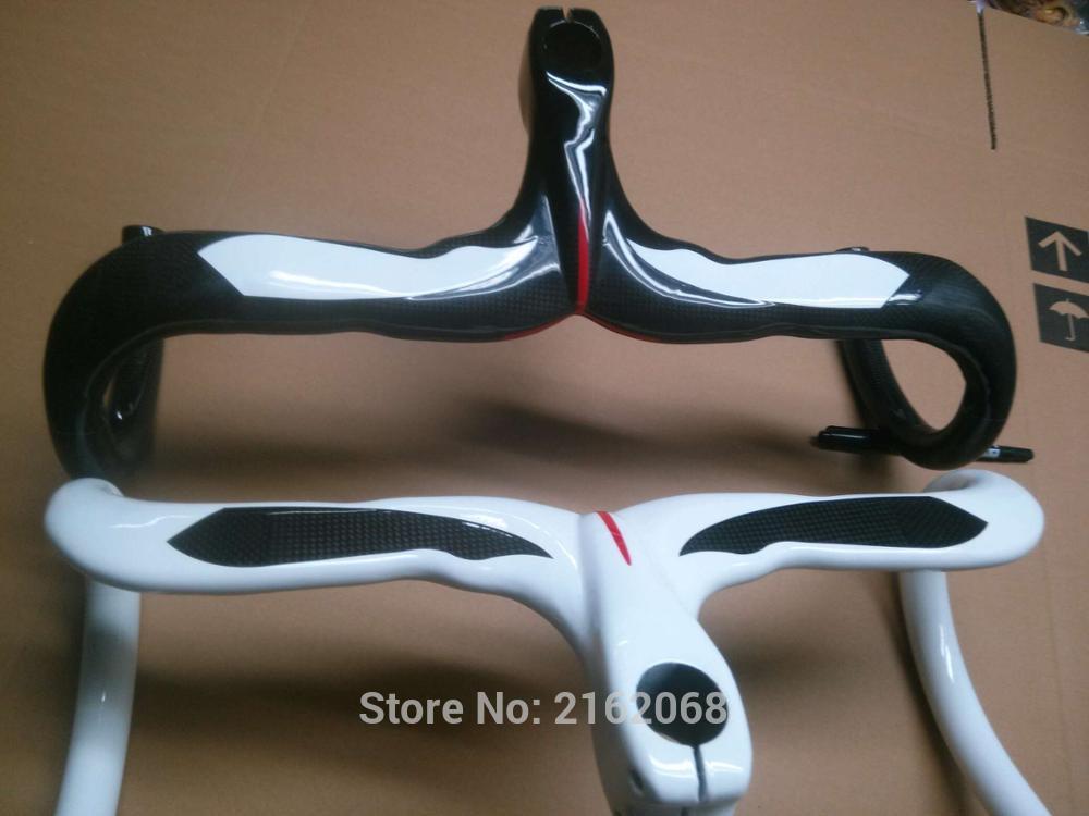 New white QILEFU Road bike 3K full carbon bicycle handlebar and Stem integrated