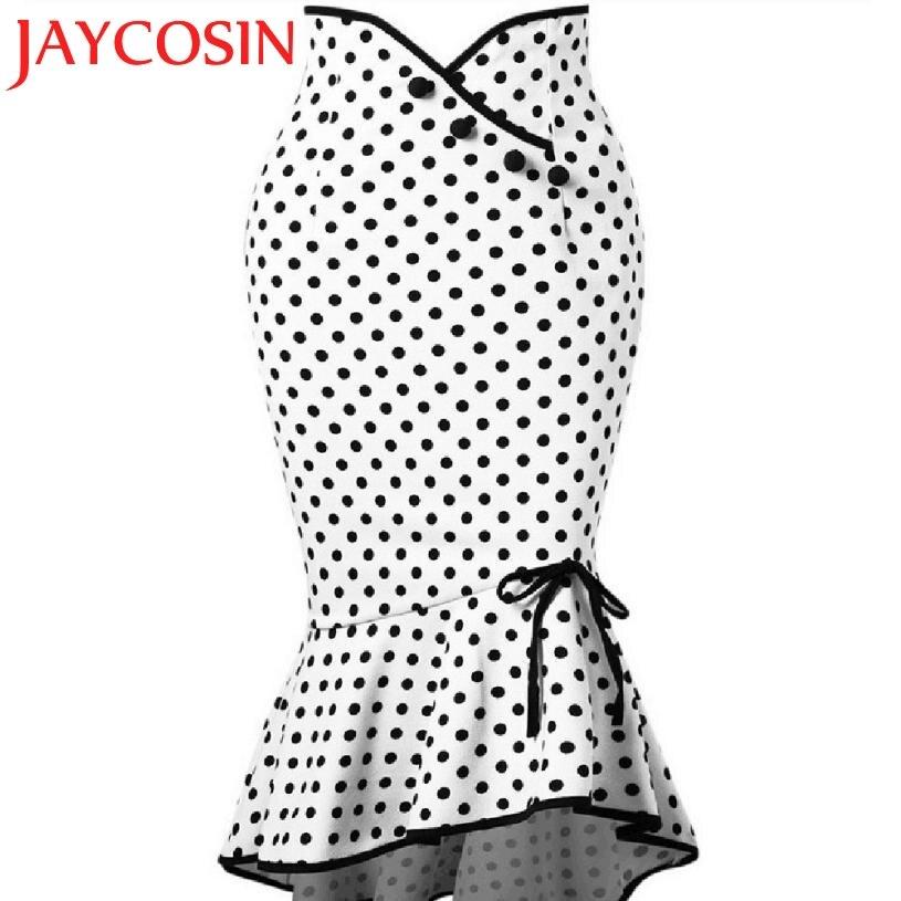 JAYCOSIN 2018 Fashion Women Sexy Casual Polka Dot Botton Ruffles Tight-Fitting Hip Party Skirt Dropshipping Freeship 20p