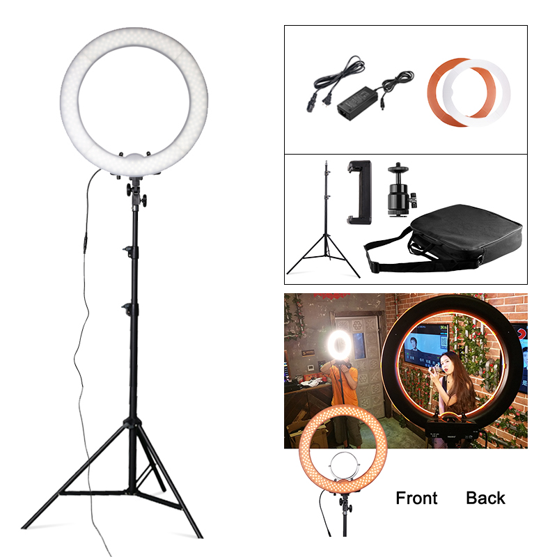 Travor Studio Dimmable 18 5500K 55W 240 LED Camera Photo/Studio/Phone/Video Photography Ring Light Lamp with Tripod Stand ashanks 55w 5500k ring light with stand 240 led photographic lighting dimmable camera photo studio phone video photography lamp