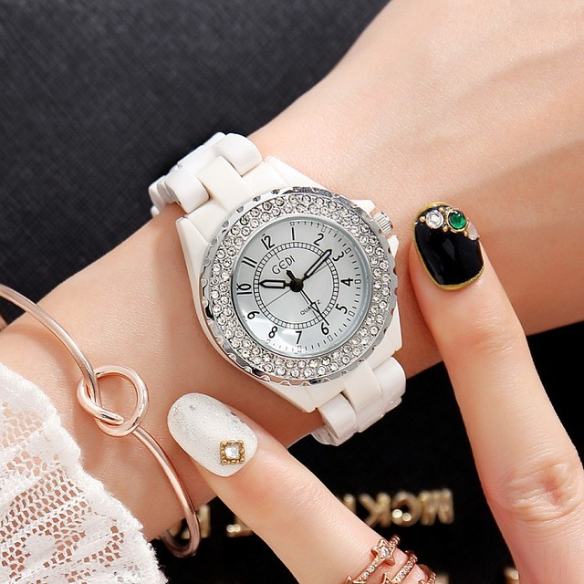 GEDI Fashion White Ceramics Women Watches Top Luxury Brand Ladies Quartz Watch 2 Pieces Bracelet Watch White Ceramic Watch Clock