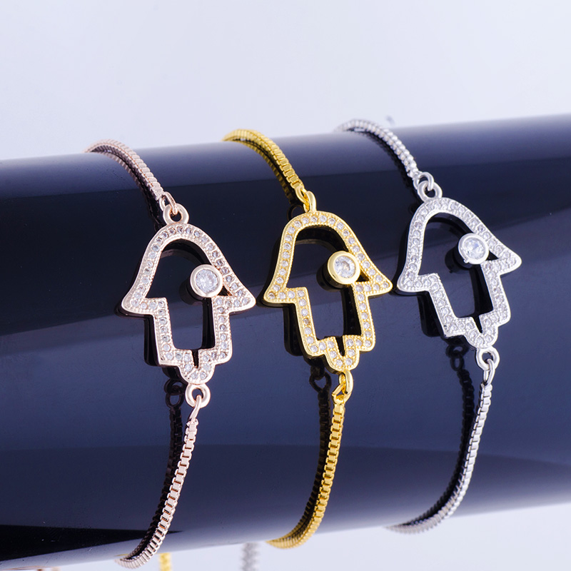 Handmade Greek Eye Bracelets Supplies Gold/Silver/Rose Gold Adjustable Chains Evil Eye Bracelet Men Hamsa Fatima Bracelet Women