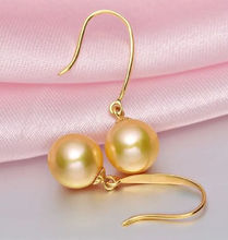 earrings Gift word Love women Fashion Jewelry hot AAA 10-11MM GENUINE SOUTH SEA GOLDEN PEARL EARRINGS  YELLOW
