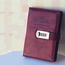 цена на Creative stationery notebook retro Password book with lock diary thread installed Notepad Business books school office supplies