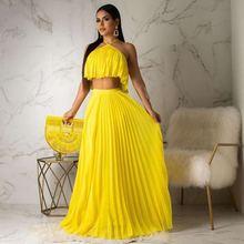 Echoine Summer Chiffon Two Piece Long Dress Women Elegant 2 Piece Set Crop