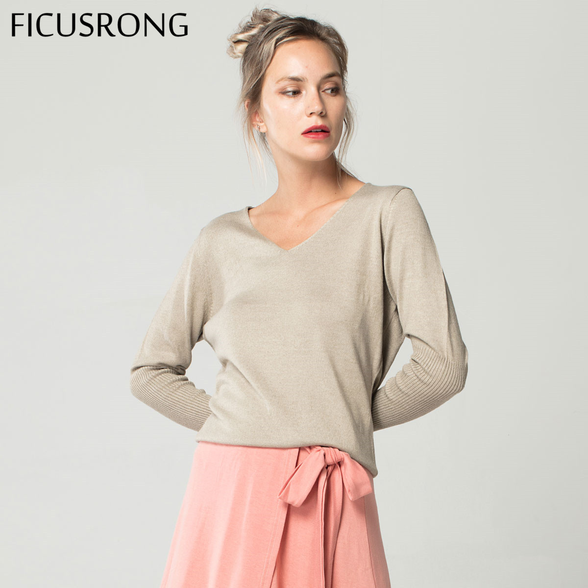 Spring Autumn Ladies V-Neck Cashmere Sweater Loose Fashion Plus Size 4XL Solid Women's Wool Bat Pullover Sweater FICUSRONG
