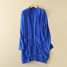 Women's V-neck long sleeve solid color cardigan 100% pure cashmere warm keeping long open stitch sweater with two pockets decor