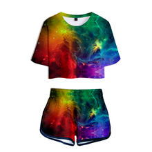 LUCKYFRIDAYF Fashion Starry sky 3D Summer Shorts And T-shirts Suicide Squad Women Two Piece Sets Print Crop Top Clothes 2XL