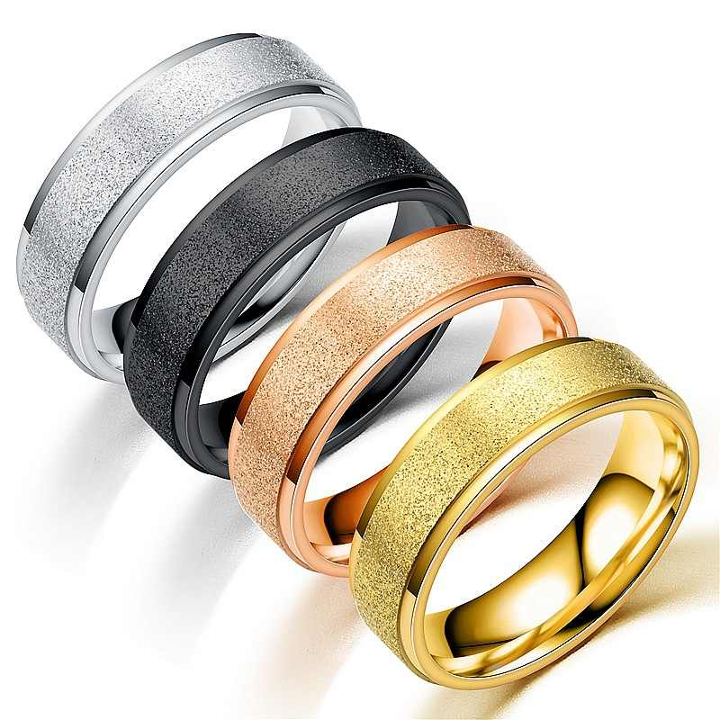 Fashion Steel Simple Ring Female Vintage Matt Scrub Rings Gold Black Blue 316L Stainless Steel Rings For Women Men Jewelry