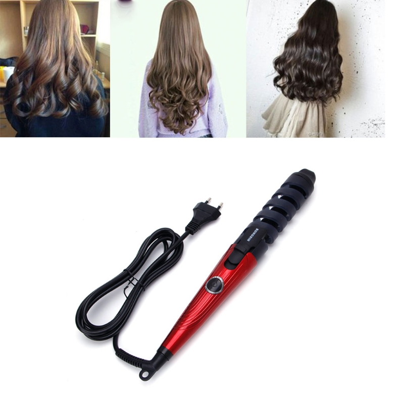 Electric Magic Hair Curling Ceramic Iron Styling Spiral Wave Curler Tool EU Plug magic hair curling tool electric 1pc hair styling tools hair curler roller pro spiral curling iron wand curl styler eu plug