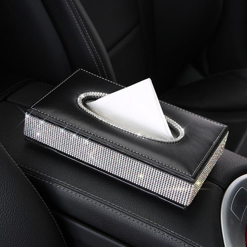 Шикарная Хрустальная автомобильная коробка для салфеток, роскошный бумажный чехол из искусственной кожи, автомобильный держатель, чехол, лоток для дома, офиса, автомобиля - Название цвета: crystal black