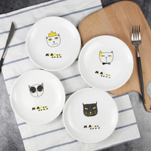 Dishes Plates ceramic plate Cake fruit dish Cartoon children s tableware creative Cat dessert breakfast tray