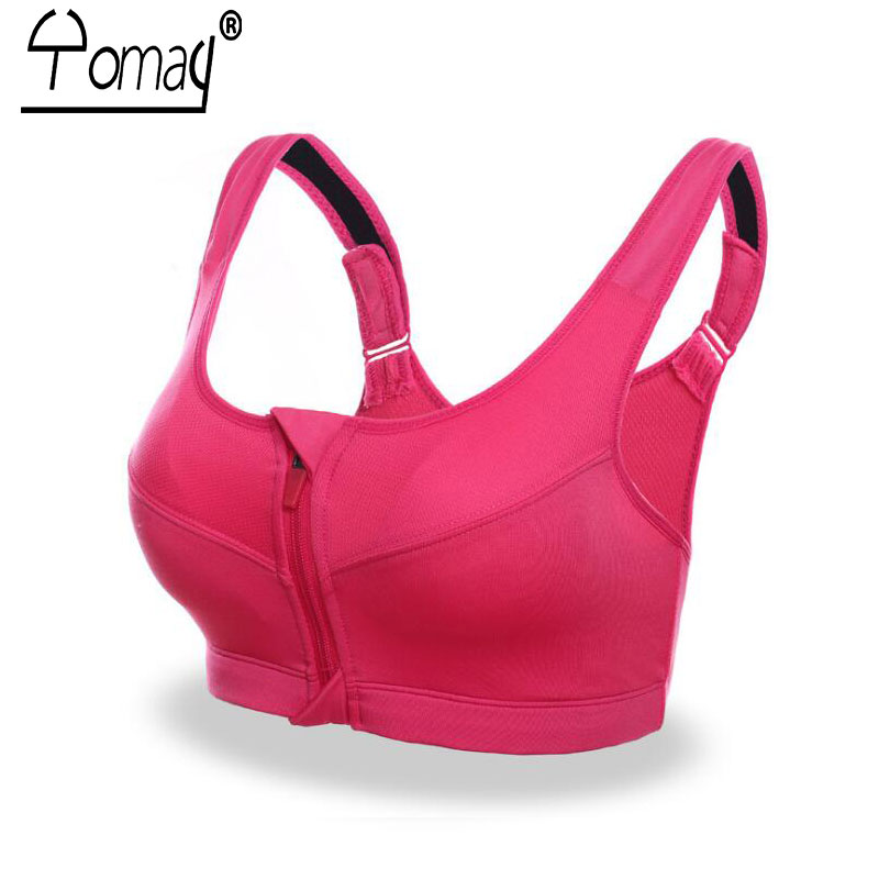 Yomay Professional Women Zipper Front Running Yoga Sports Bra Push Up Shockproof