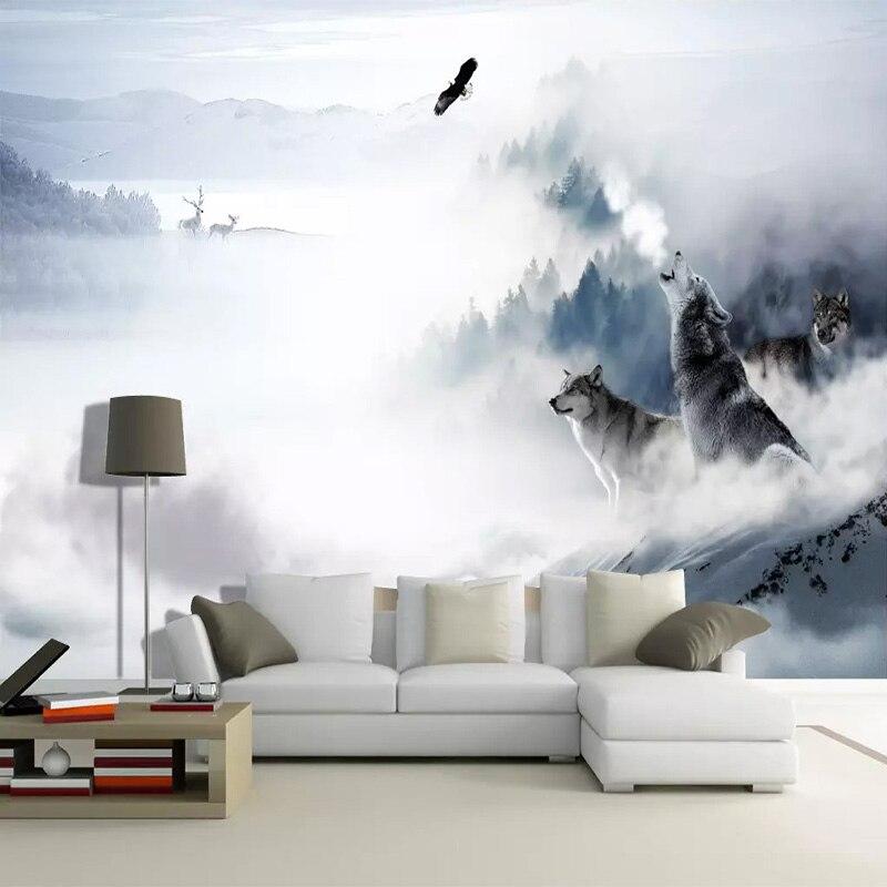 Пользовательские Настенные обои современный простой волк Тотем горы лося фото настенная живопись гостиная фон Настенный декор фото фрески