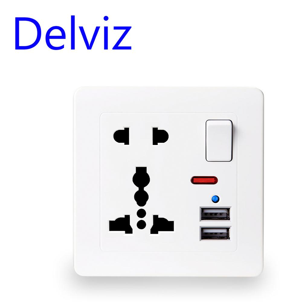 Delviz EU Standard Outlet panel 5V 2 1A Dual USB Charger Port Switch control 13A Global Universal 5 Hole USB Wall Power Socket
