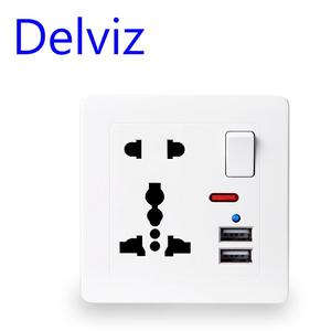 Delviz EU Standard Outlet panel, 5V 2.1A Dual USB Charger Port, Switch control 13A Global Universal 5 Hole USB Wall Power Socket(China)