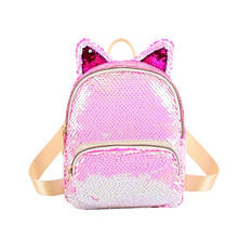 NEW Women Girl Cute Cat Ear Backpack School Rucksack Mini Bag Sequins UK