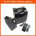 52V 1000W литиевая батарея 18650 упаковка 52V 20AH Электрический велосипед батарея с 30A BMS 2A зарядное устройство Бесплатная таможенная плата