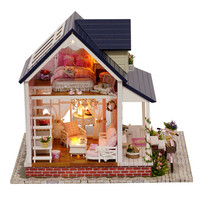 DIY House Set Decoration DIY Hut Bike Angel Miniature Model LED Light Artwork Drop Shipping